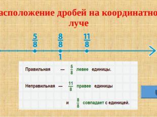 Расположение дробей на координатном луче