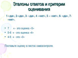Эталоны ответов и критерии оценивания 1-«да», 2-«да», 3- «да», 4 -«нет», 5 –