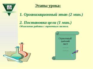 1. Организационный этап (2 мин.) 2. Постановка цели (1 мин.) Объяснение работ