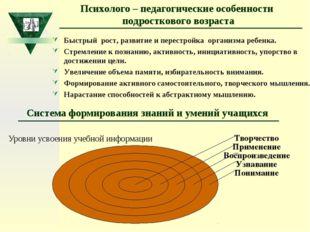 Система формирования знаний и умений учащихся Уровни усвоения учебной информа