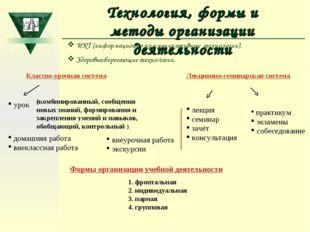 Технология, формы и методы организации деятельности Классно-урочная система у