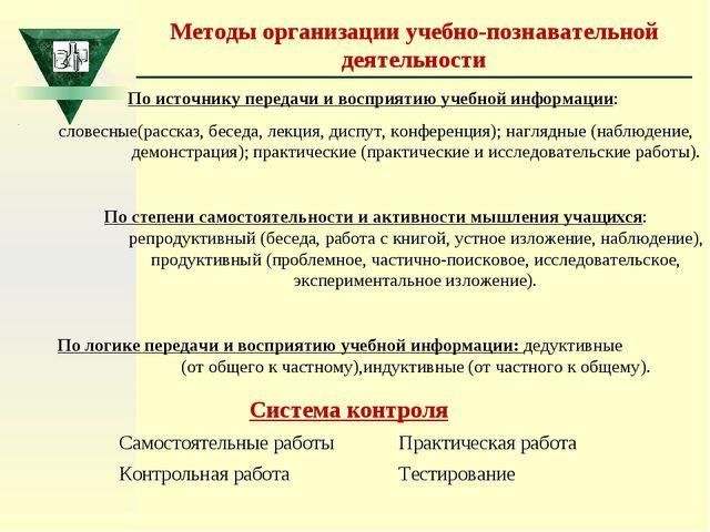 Система контроля Самостоятельные работы Практическая работа Контрольная рабо...