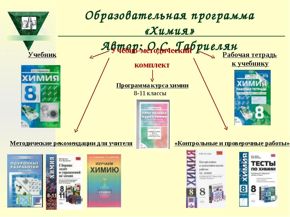 Образовательная программа «Химия» Автор: О.С. Габриелян Учебно-методический к...