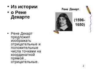 Из истории о Рене Декарте Рене Декарт предложил изображать отрицательные и по