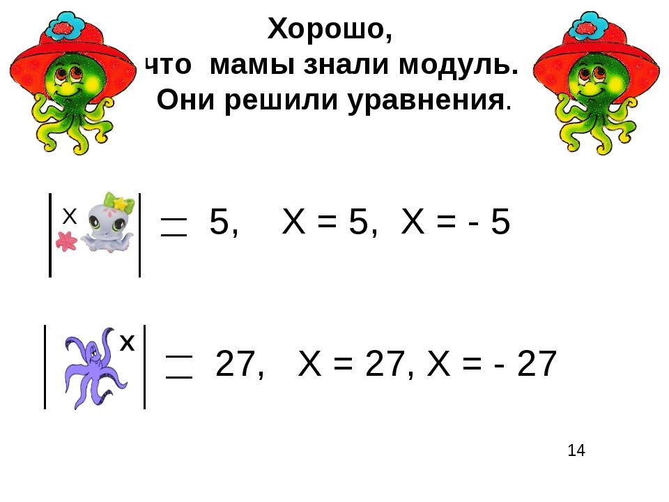 Хорошо, что мамы знали модуль. Они решили уравнения. Х 5, Х = 5, Х = - 5 Х 27...