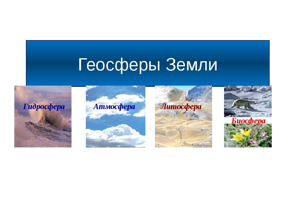 Геосферы Земли Атмосфера Гидросфера Литосфера Биосфера