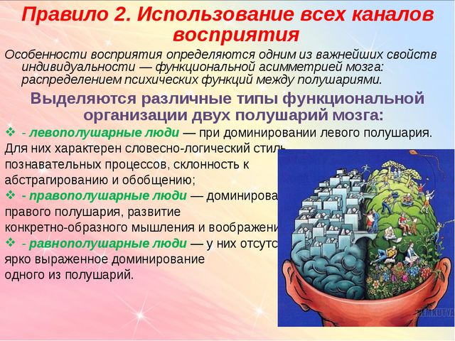 Правило 2. Использование всех каналов восприятия Особенности восприятия опред...