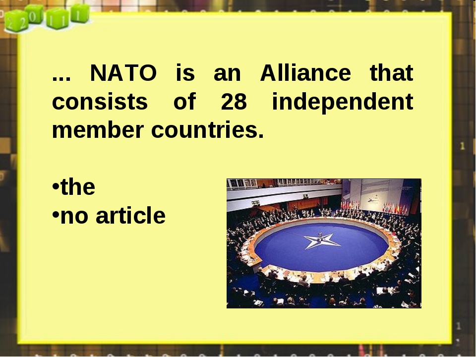 ... NATO is an Alliance that consists of 28 independent member countries. the...