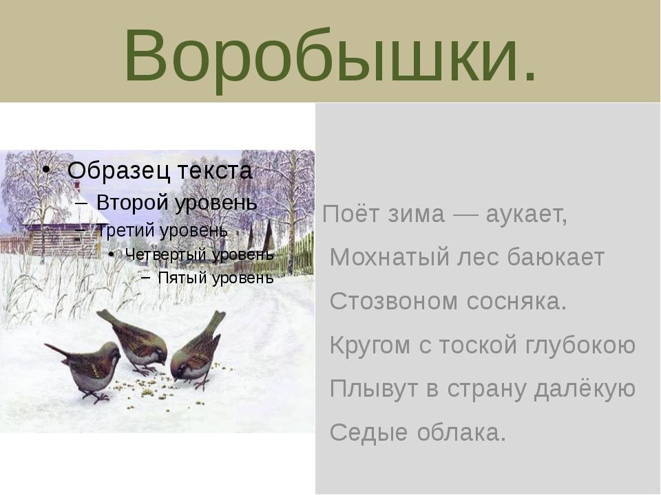 Воробышки. Поёт зима — аукает, Мохнатый лес баюкает Стозвоном сосняка. Кругом...