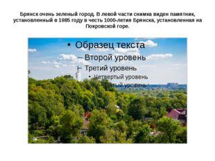 Брянск очень зеленый город. В левой части снимка виден памятник, установленны