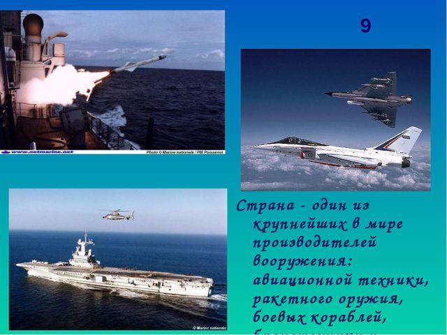 Страна - один из крупнейших в мире производителей вооружения: авиационной тех...