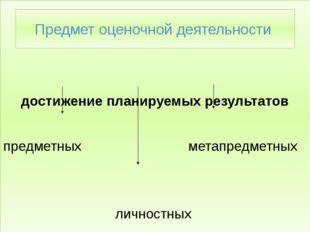 достижение планируемых результатов предметных метапредметных личностных Пред