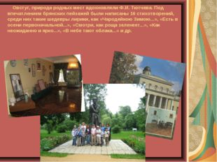 Овстуг, природа родных мест вдохновляли Ф.И. Тютчева. Под впечатлением брянс