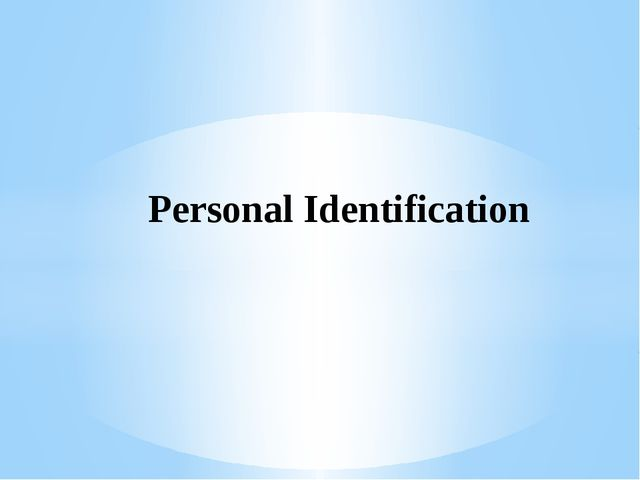 Personal Identification