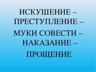 ИСКУШЕНИЕ – ПРЕСТУПЛЕНИЕ – МУКИ СОВЕСТИ – НАКАЗАНИЕ – ПРОЩЕНИЕ