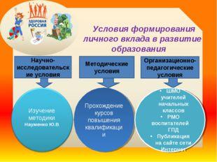 Условия формирования личного вклада в развитие образования Научно-исследоват