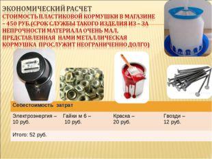 Себестоимость затрат Электроэнергия – 10 руб.Гайки м 6 – 10 руб.Краска – 2