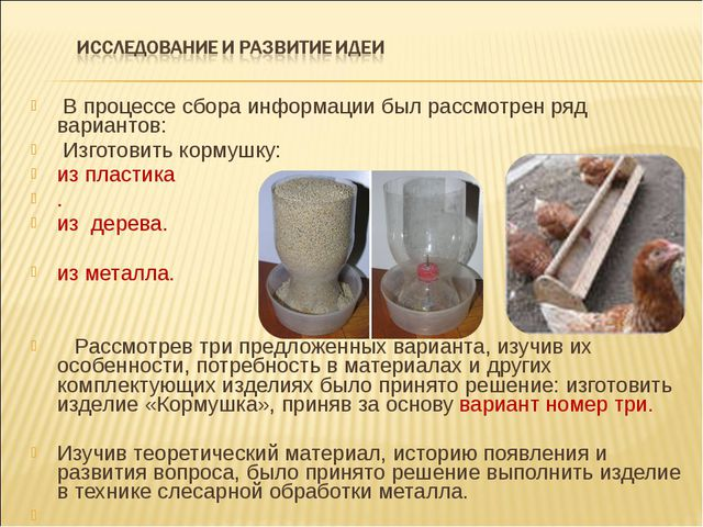 В процессе сбора информации был рассмотрен ряд вариантов: Изготовить кормуш...