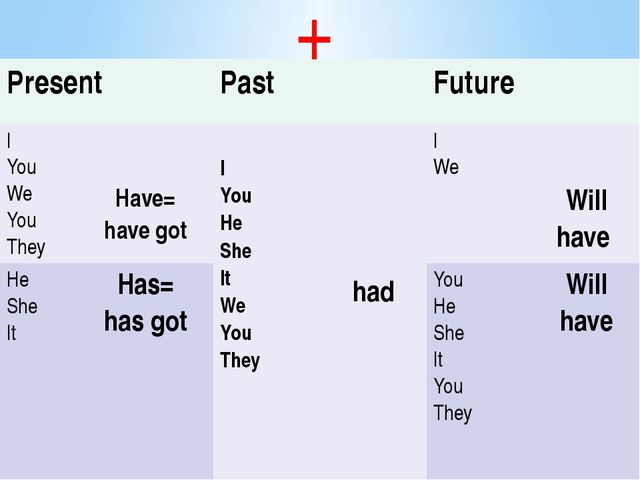 + Present Past Future I You We You They Have= have got I You He She It We You...