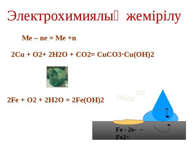 Сүйенішті (протекторлы) қорғаныш анод Fe О2 О2 Zn - 2е- → Zn2+ катод Fe қарағ...