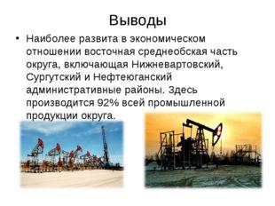 Выводы Наиболее развита в экономическом отношении восточная среднеобская част