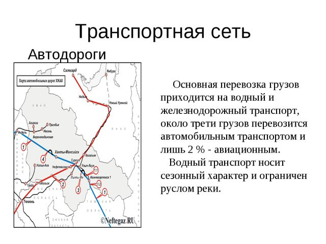 Транспортная сеть Автодороги Основная перевозка грузов приходится на водный и...
