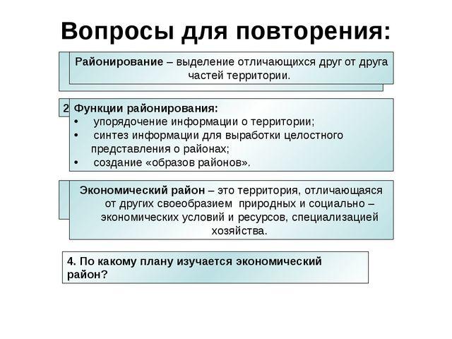 4. По какому плану изучается экономический район? Что такое районирование? Во...