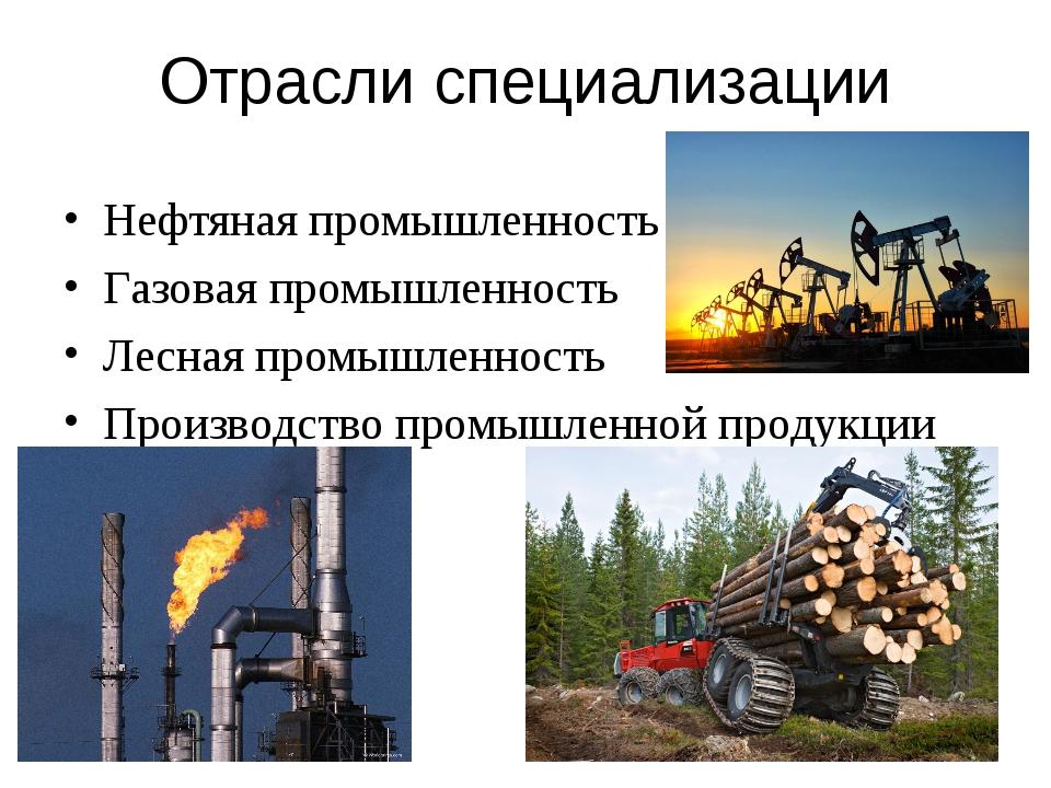 Отрасли специализации Нефтяная промышленность Газовая промышленность Лесная п...