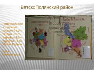 ВятскоПолянский район Национальности – разные: русские 64,2% татары –25 % мар