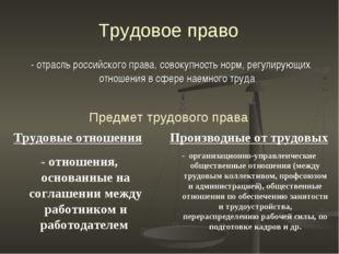 Трудовое право - отрасль российского права, совокупность норм, регулирующих о