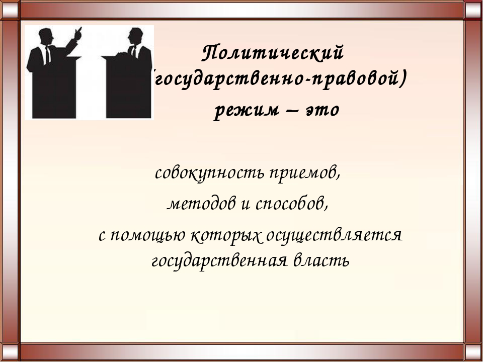 Политический (государственно-правовой) режим – это совокупность приемов, мето...