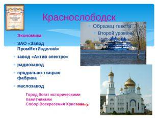Краснослободск Экономика ЗАО «Завод ПромМетИзделий» завод «Актив электро» рад