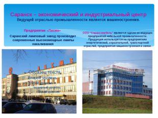 Саранск – экономический и индустриальный центр Ведущей отраслью промышленност