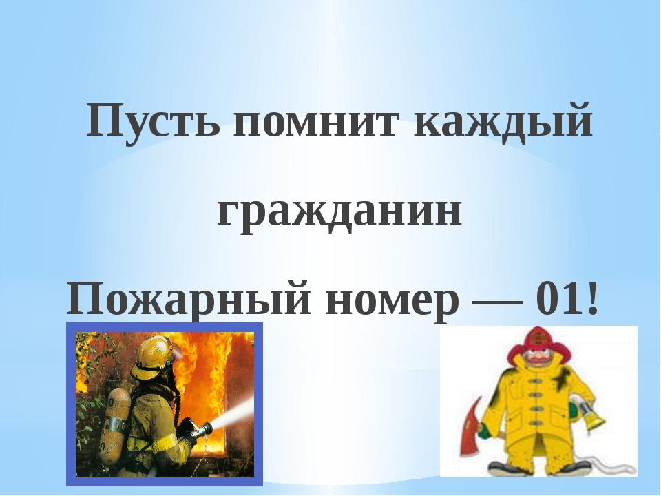 Пусть помнит каждый гражданин Пожарный номер — 01!
