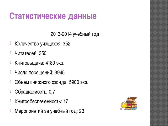 Статистические данные 2013-2014 учебный год Количество учащихся: 352 Читателе...