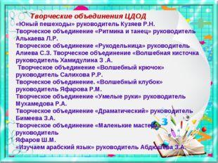 Творческие объединения ЦДОД «Юный пешеходы» руководитель Кузяев Р.Н. Творчес