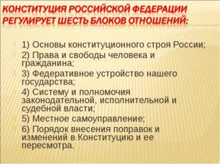 1) Основы конституционного строя России; 2) Права и свободы человека и гражда