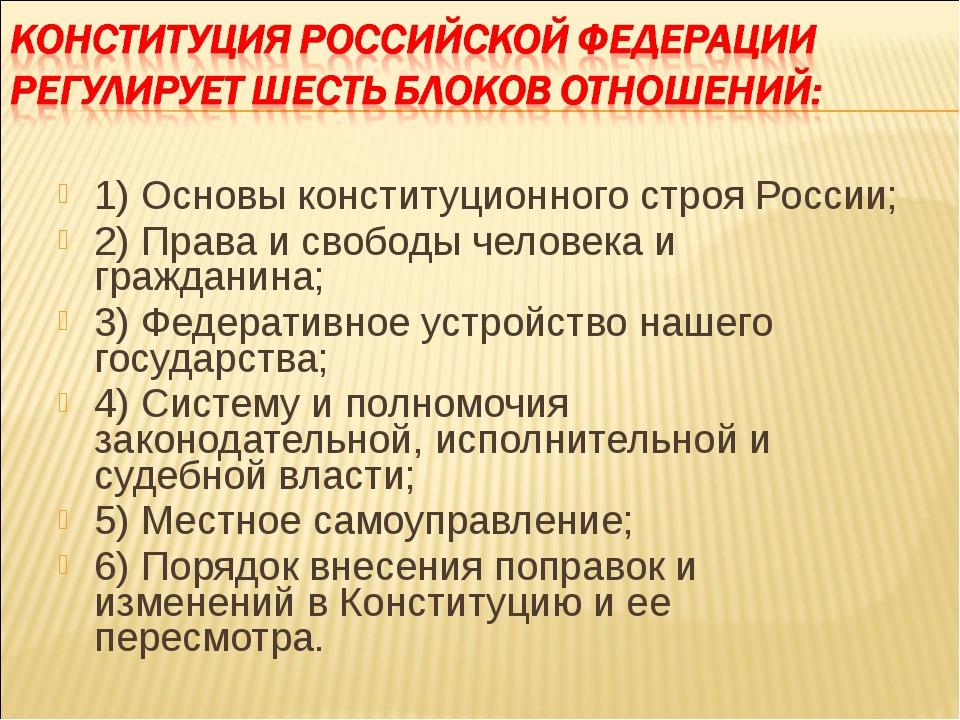 1) Основы конституционного строя России; 2) Права и свободы человека и гражда...