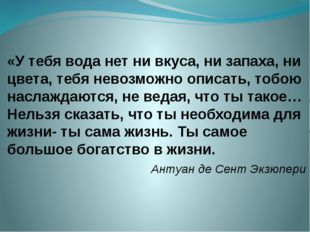 «У тебя вода нет ни вкуса, ни запаха, ни цвета, тебя невозможно описать, тобо