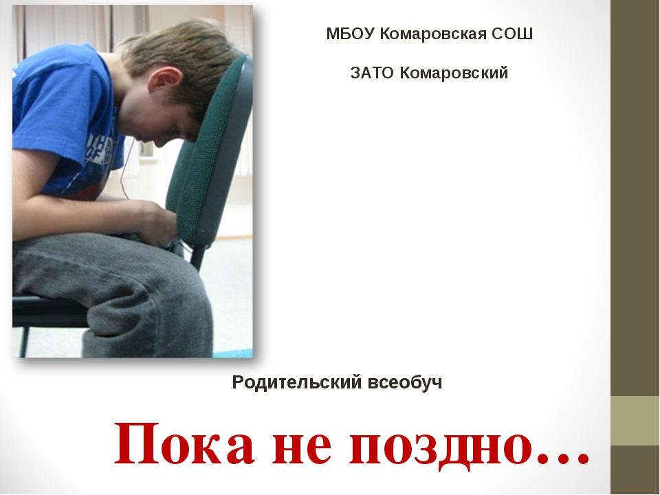 Пока не поздно… Родительский всеобуч МБОУ Комаровская СОШ ЗАТО Комаровский
