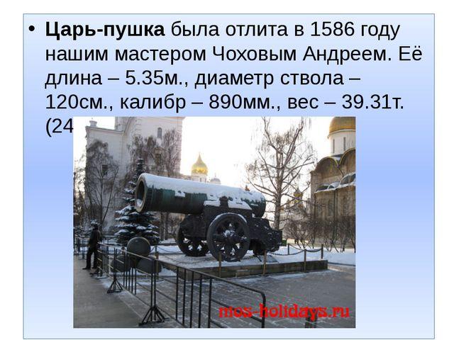 Царь-пушкабыла отлита в 1586 году нашим мастером Чоховым Андреем. Её длина –...