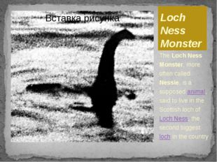 Loch Ness Monster The Loch Ness Monster, more often called Nessie, is a suppo
