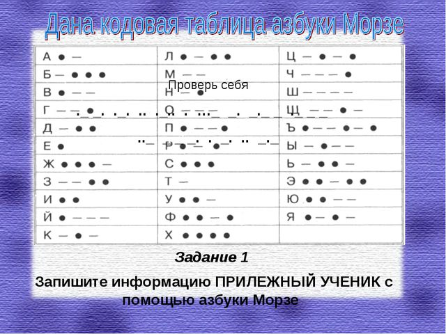 Задание 1 Запишите информацию ПРИЛЕЖНЫЙ УЧЕНИК с помощью азбуки Морзе Проверь...