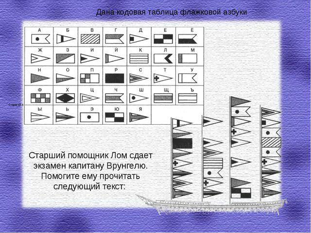 Дана кодовая таблица флажковой азбуки Старший помощник Лом сдает экзамен капи...