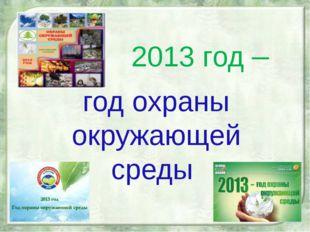 2013 год – год охраны окружающей среды