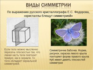 Если тело можно мысленно пересечь плоскостью так, что левая часть тела повтор