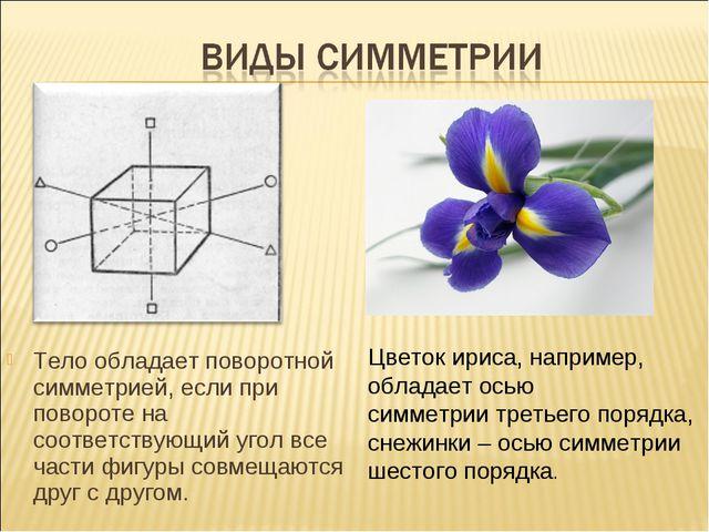 Тело обладает поворотной симметрией, если при повороте на соответствующий уго...