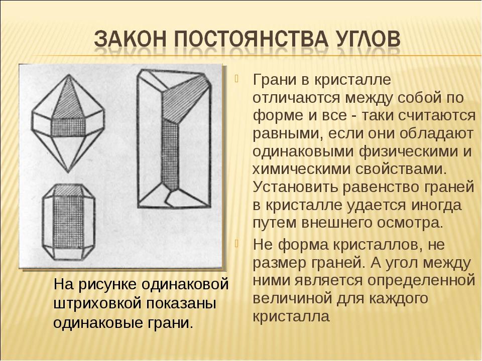 Грани в кристалле отличаются между собой по форме и все - таки считаются равн...
