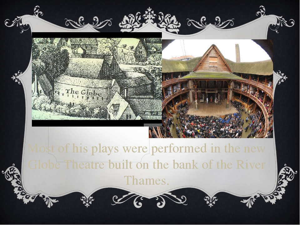 Most of his plays were performed in the new Globe Theatre built on the bank o...