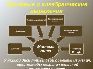 и т.д. У каждой дисциплины свои объекты изучения, свои методы познания реальн